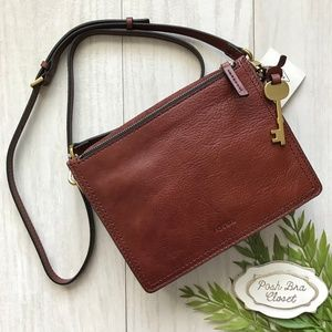 FOSSIL Campbell Crossbody Leather Purse Brown NWT